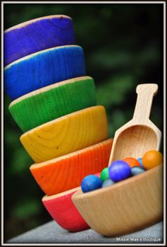 Bowls Scoop 'n Balls - Montessori and Waldorf Inspired Educational Rainbow Balls and Bowls Set. $22.00, via Etsy.