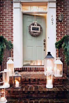 teal door red brick house - Google Search