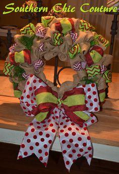 Christmas Burlap Wreath - Etsy Wreath - Fall Wreaths for door - Wreaths for door - Door Wreath -
