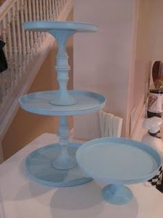 Homemade cupcake stands made from burner covers and candlesticks from the dollar store