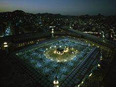Mecca, Saudi Arabia. Night during the Haj.