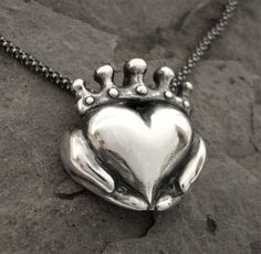 Claddagh Necklace - Modern Celtic Silver Jewellery - Irish Promise Pendant - Love - Faith - Friendship