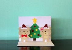 Pop Up Christmas Card  Joy  Bears by Choodaloo on Etsy, $6.25