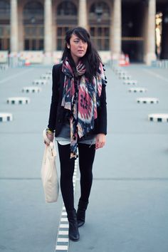 Wore a version of this outfit today:  Big patterned scarf from India  Denim shorts  Black tights  Boatneck sweater  Brown lace-up boots