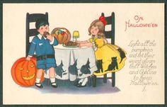 Vintage Stecher Halloween Postcard Boy Eating Donut Girl Black Cats Witches JOL