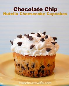 Chocolate Chip Nutella Cheesecake Cupcakes - vanilla chocolate chip cupcakes filled with a Nutella cheesecake center and topped with vanilla buttercream by Inside BruCrew Life