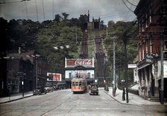 A view of two train tracks up Price Hill, Cincinnati.  1920-30's  Color autochrome photo