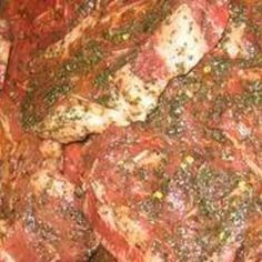 The Best Steak Marinade: oil, balsamic vinegar, Worcestershire sauce, soy sauce, Dijon mustard, minced garlic, S & P.
