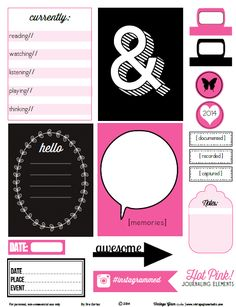 Free Hot Pink Journaling Cards and Labels from Vintage Glam Studio