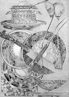 Tableware illustration by Alphonse Mucha