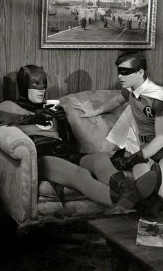 Adam West & Burt Ward on the Bat-Set (1966)