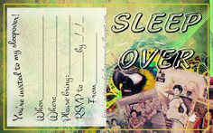 Crazy weird  and  brilliant sleepober invitation  - this free sleepover invite is blank so you can fill it with your own personal details including when and where the party is taking place and RSVP details.