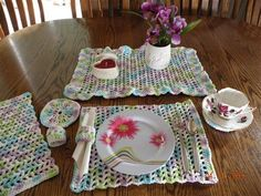 Teatime in Spring Placemat Set **CORRECTED - Crochet Me