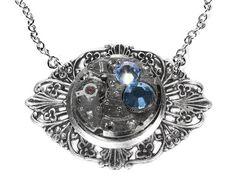 Steampunk Jewelry Necklace Vintage Watch ART NOUVEAU Silver Blue Aqua Swarovski Crystals Anniversary STUNNING Gift - Steampunk by edmdesigns