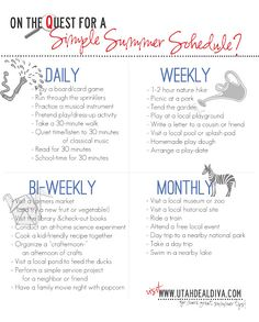 Simple Summer Schedule