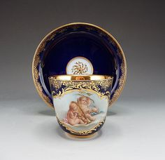 19TH CENTURY MEISSEN  COBALT HP  CABINET CUP AND SAUCER