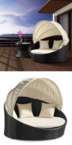 Outdoor Canopy Bed - retractable top, so you can be in the sun or shade! So comfy and perfect! #outdoor #lounge #chair #furniture #patio #deck #home