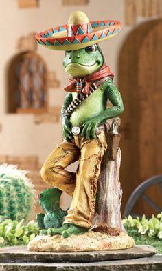 Charming Frog Bandito Garden Sculpture