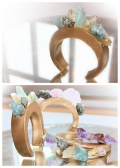 DIY Chanel and Pamela Love Crystal Cuff Tutorial. I love this! Polymer clay is used over a cuff to get this look. Detailed tutorial from Dream, Create here.
