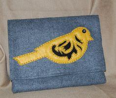 Grey Felt Purse - Yellow Bird