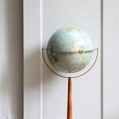 Mid Century World Globe on Wood Stand.