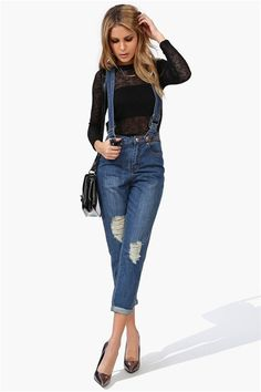 Distressed Overalls in Blue