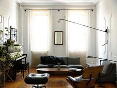 interior, living rooms, piano, eam, brooklyn apartment, curtain rods, lamp, window treatments, light