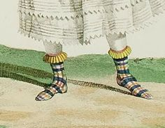 """Dames a la Mode: Incroyables et merveilleuses de 1814 - appears to be an example of woolen socks being worn over shoes, as noted in """"Women's Footwear in America"""" by Nancy Rexford"""
