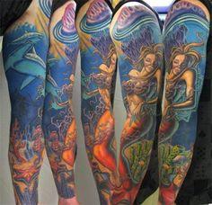 Mermaid tattoo full sleeve....