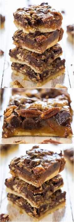 Salted Caramel and Chocolate Pecan Pie Bars - You'll never want plain pecan pie again! Caramel and chocolate makes the bars taste amazing! sweet food recipes, salt caramel, cookie butter brownies, bar tast, dessert brownies, pie bar, chocol pecan, pecan pies, caramel bars