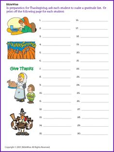 Thanksgiving - (Projects/Activities) - BibleWise