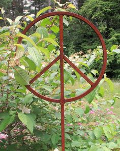These rusty peace signs are big, solid garden sculptures. These peace signs will make a powerful statement in your yard or garden. Add a vine or