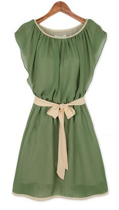 Army Green Chiffon Dress