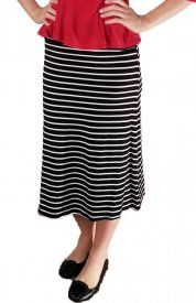 Striped Rayon Skirt - Black/White - $19 at DCM Apparel