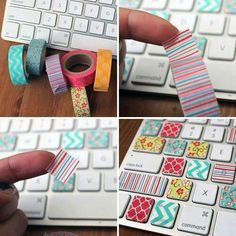 dress up your key board using tape. I you have a husband like mine or kids who don't know the keyboard yet just write the letters on the tape with colorful sharpie markers.