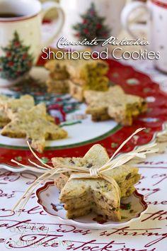 Pistachio-Chocolate Shortbread Cookies | ASpicyPerspective.com #cookies #christmascookies #cookieexchange
