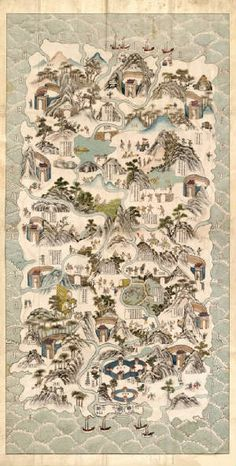 Map of Hainan Island, China circa 1820 depicting the daily activities of the Li people- I think- I can't read Chinese!