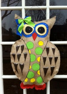 Owl Burlap Door Hanger by BrunsonBerryPaints on Etsy, $40.00 --- this is for Tina!!!! LOVE IT! Fav one yet!!