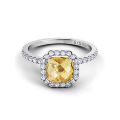 Colored Stone Engagement Ring: Per Lei Single-Shank Citrine and Diamond Ring, from $2,780 (setting only), danhov.com Colored Stone Engagement Rings, Diamond Rings, Color Stone