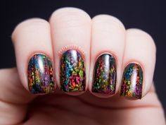 Chalkboard Nails: OPI Black Spotted and Neon Abstract Brush Strokes