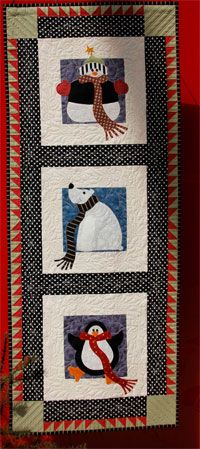 """Winter Buddies Applique Wallhanging Pattern by Scrappy Quilt Designs at KayeWood.com. With cooler temperatures on their way, it's time to start thinking about those projects we want to make for this upcoming Season. Size 20"""" X 50"""" Wall hanging. A snowman, polar bear and penguin. These three buddies are enjoying the winter weather and loving their time together. http://www.kayewood.com/item/Winter_Buddies_Wallhanging_Pattern/3275  $12.00"""