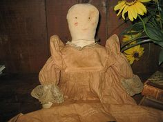 Early Cotton Stuffed Rag Doll wear a hand made dress.....