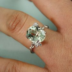 Sterling Silver Oval Green Amethyst Ring