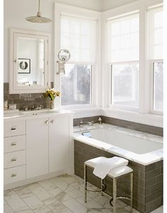 Pretty gray and white bathroom.