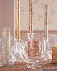 Glitter Candles via Martha Stewart.