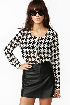 Houndstooth Cutout Top