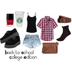 Was supposed to be my first day of school outfit but didnt get my frilly socks in time. :( bummer. BUT it will be one of my school outfits. #creepers #backtoschool #college #polyvore
