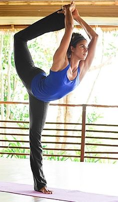 Natarajasana. Stretches the shoulders, chest, thighs, groin and abdomen. Strengthens the legs and ankles. Improves balance.