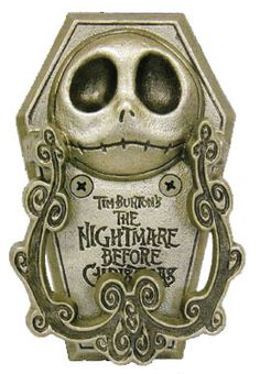 """NIGHTMARE BEFORE CHRISTMAS JACK PEWTER DOOR KNOCKER era 2008 From the Nightmare Before Christmas collection. Nightmare Before Christmas Jack Bite Pewter Door Knocker. This door knocker features Jack's head and can be mounted on your door. Reads """"Tim Burton's the Nightmare Before Christmas."""" Measures approximately 3.5"""" x 1.2"""" x 5.62"""" 54.99+12.50"""