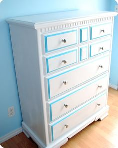 re-painting a dresser diy    *neat, but with black and red trim